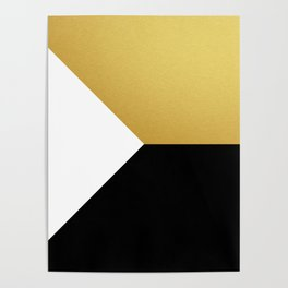 Gold White Black Abstract Geometric Art Poster