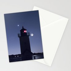 Moon Venus and the Annisquam Lighthouse Stationery Cards