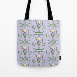 Iris Flowers Illustrated Pattern Purple Green Yellow Summer Garden Tote Bag