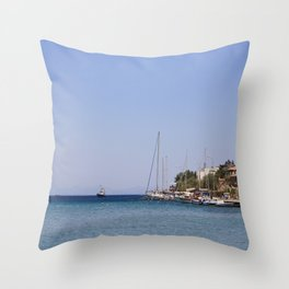 Boats at Datca Throw Pillow