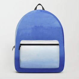 Hand painted navy blue aqua watercolor ombre pattern Backpack