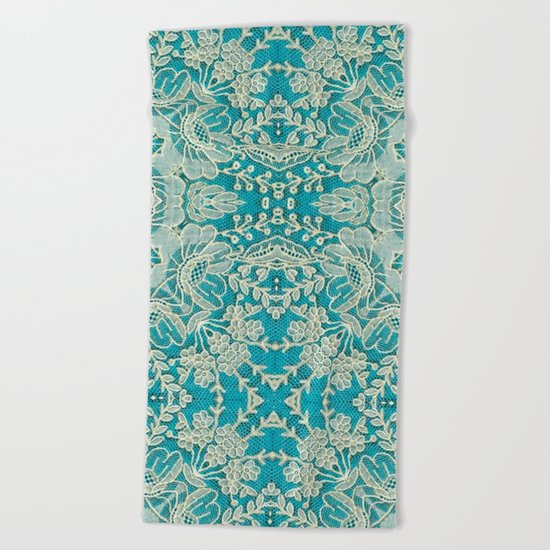 floral lace on blue Beach Towel