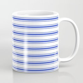 Horizontal Cobalt Blue and White French Mattress Ticking Stripes Coffee Mug