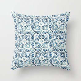 Azulejo IV - Portuguese hand painted tiles Throw Pillow