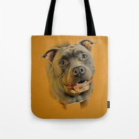 pit bull Tote Bags featuring American pit bull terrier by Frederica Morgan