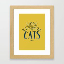 home is where the cats are - yellow and blue ombre Framed Art Print