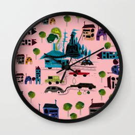 CityView pink Wall Clock