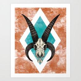 Ram Skull Art Print