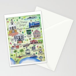 """""""Downtown St. Marys, GA"""" Watercolor Map Stationery Cards"""