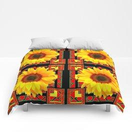 QUATRE WESTERN BLACK & RED ART DECO YELLOW SUNFLOWER Comforters
