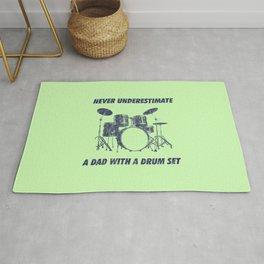 Never Underestimate A Dad With A Drum Set Funny Drums Vintage Drummer Distressed Rug