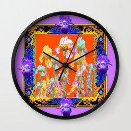 Lilac Purple Color Cumin Iris Garden Art Wall Clock