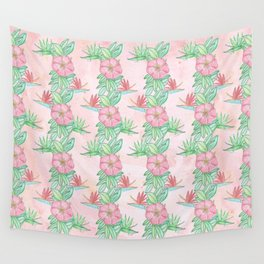 Tropical flowers and leaves watercolor Wall Tapestry