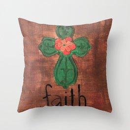FE VERDE CRUZ CON FLOR Throw Pillow