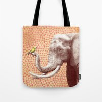 eric fan Tote Bags featuring New Friends 2 by Eric Fan and Garima Dhawan by Eric Fan