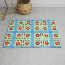 Striped light blue and green background with flowers kl Rug