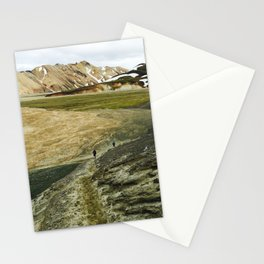 Running In Icelandic Mountains Stationery Cards