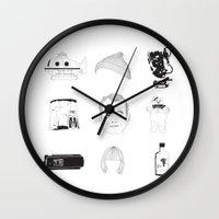 bill murray Wall Clocks featuring Bill Murray x 9 by Nathalie Otter