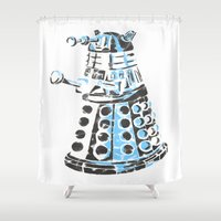 dalek Shower Curtains featuring Dalek Graffiti by spacemonkey89