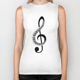 Treble clef sign with piano keyboard Biker Tank