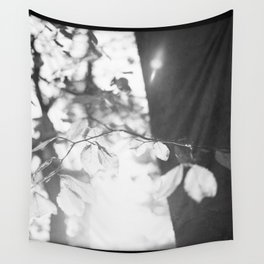 black and white leaves Wall Tapestry