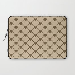Tan and Brown Hearts Laptop Sleeve