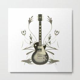 Guitar With Tribal Graphics Metal Print