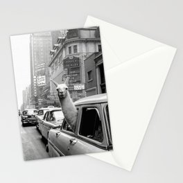 Llama Riding In Taxi Stationery Cards
