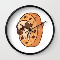 cookie Wall Clocks featuring Puglie Cookie by Puglie Pug