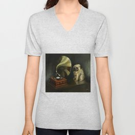 Pug and His Master´s Voice Unisex V-Neck