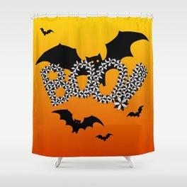 Halloween Flowers Bats BOO Design! Shower Curtain