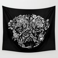 botanical Wall Tapestries featuring Botanical Garden Pug by Huebucket