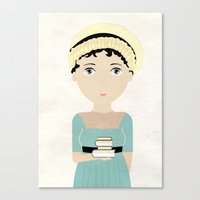 jane austen Canvas Prints featuring Jane Austen by Creo tu mundo