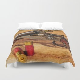 Old Double Barrel Stevens Duvet Cover