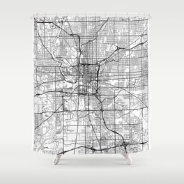Indianapolis Map White Shower Curtain