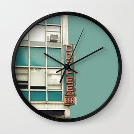 New York Coffee Shop on Aqua Wall Clock