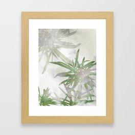Olive Green Palm Leaves Watercolor Painting Framed Art Print