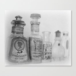 Vintage Bottles Black and White Canvas Print
