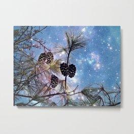 Pine cones under a starry night sky Metal Print
