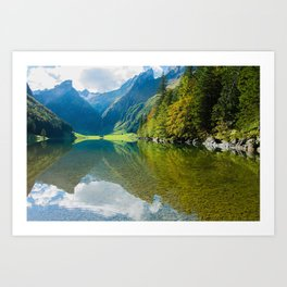 Seealpsee Lake Appenzell Alps Switzerland Art Print