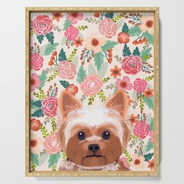 Yorkshire Terrier floral dog portrait pink cute art gifts for yorkie dog breed lovers Serving Tray