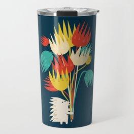 Hedgehog with flowers Travel Mug