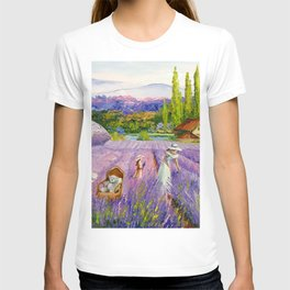 Harvest in a lavender field  T-shirt