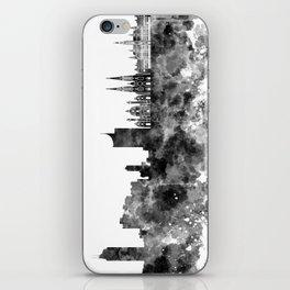 Vienna skyline in black watercolor iPhone Skin