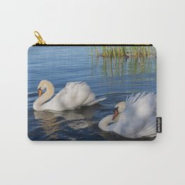 Swan Art. Two Beautiful Swans with Fluffy Wings on the Lake Carry-All Pouch