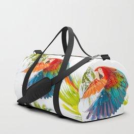 Colorful macaw flying Duffle Bag
