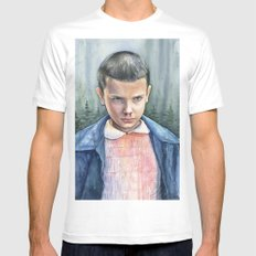 Stranger Things Eleven Art Watercolor Portrait X-LARGE White Mens Fitted Tee