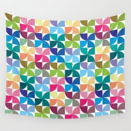 Geometric Pattern 1 (Colorful semicircle) Wall Tapestry
