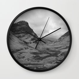 Scottish Highlands Glencoe Black & White Wall Clock