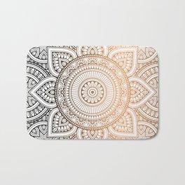 Gold Bronze Mandala Pattern Illustration Bath Mat